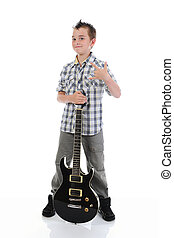 Little musician playing guitar. Isolated on a white...