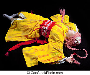 cosplay, belleza, amarillo,  kimono, colocar, niña, disfraz