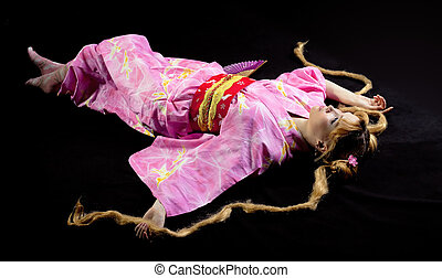 belleza, mujer, colocar, kimono, cosplay, carácter