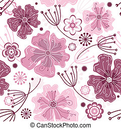 White and pink seamless floral pattern