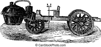 Steam-powered Tricycle, vintage engraving