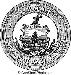 Seal of the State of Vermont, USA, vintage engraving - Seal...