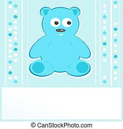Teddy bear for baby boy - baby arrival announcement. vector