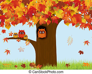 Autumn - Illustration with autumn forest and owls
