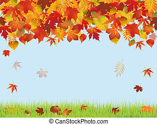 Autumn - Illustration with  autumn leaves
