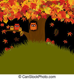 Autumn - Illustration with autumn forest