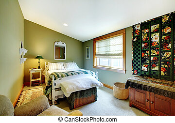 Green bedroom with country style - Cozy green bedroom