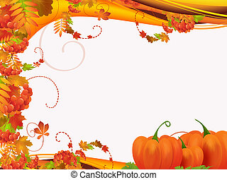 Autumn - Illustration with frame of autumn leaves