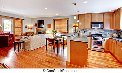 Kitchen, dining and living room of the city home - Town home...