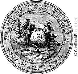 Seal of the State of West Virginia, USA, vintage engraving -...