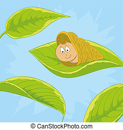 Snail on leave - cartoon, cheerful snail on a green leaf...