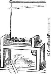 Pole Lathe Woodturning Machine, vintage engraving - Pole...