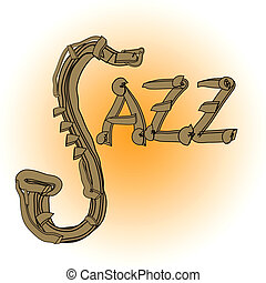 Jazz music illustration with saxophone and letters