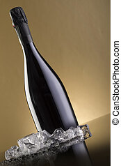 sparkling wine on gold background