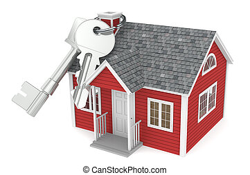 Real Estate Agency - House keys hanging on chimney of a Red...