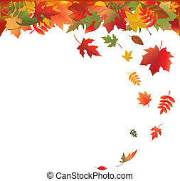Falling Leaves, Isolated On White Background, Vector...
