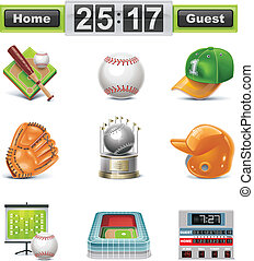 Vector baseball softball icon set - Set of the detailed...