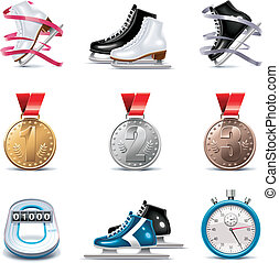 Vector ice skating icon set - Set of the detailed ice...