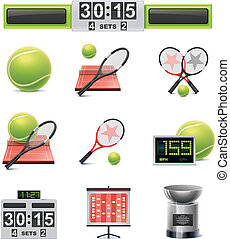 Vector tennis icon set - Set of the detailed tennis related...