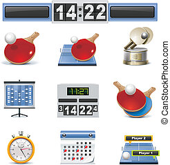 Vector table tennis icon set - Set of the detailed ping-pong...