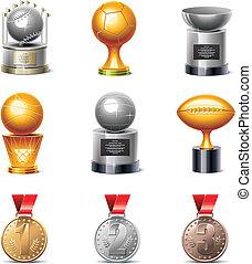 vetorial, desporto, troféus, medalhas