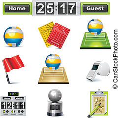 Vector volleyball icon set - Set of the volleyball related...