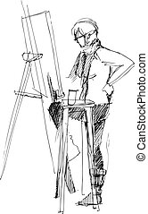 a fellow drawing on an easel