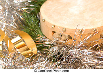 Tambourine Christmas card - Christmas card tambourine and...