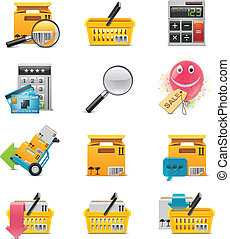 Vector e-commerce icon set - Set of the internet shopping...