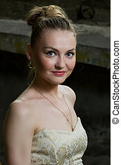 Portrait of beautiful white woman - Young girl in evening...