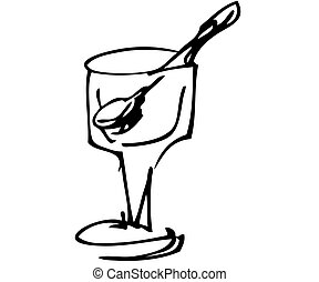 The black-and-white image of a glass from ice-cream
