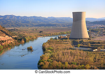 Nuclear power plant - Asc? nuclear power plant over the Ebro...