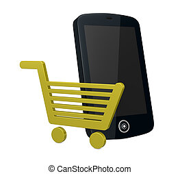 on-line shopping - one shopping cart and a smartphone (cell...