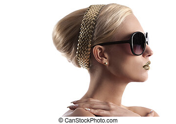 blond girl with hair style and golden lips