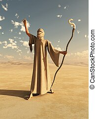 Desert Sorcerer - Robed desert nomad sorcerer or magician...