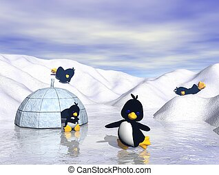 Playful Cartoon Penguins in Snow - Winter snow scene with...