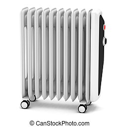 Electric oil heater on a white background.