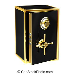 Black safe with gold elements on a white background.