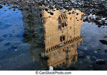 Belem Tower, in Lisbon, Portugal, reflected on Tagus river