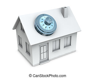 protected house - One 3d render of a house with a safe dial...
