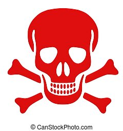 Red skull and bones isolated on a white background
