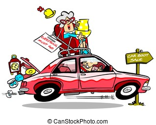 Car boot sale. - Junk filled car going to car boot sale; on...