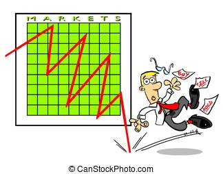 Stock market crash. - Investor suffering a stock market...