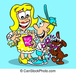 Mum\'s day - Cute kid giving mum a mothers day card, naughty...