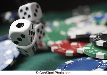 throwing - roll of the dice on a game table in a casino