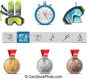 Vector skiing icon set - Set of the skiing sports related...