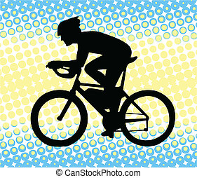 bicyclist silhouette on the abstract background - vector