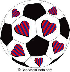 Red and blue hearts FC - The heart of the team as a symbol...