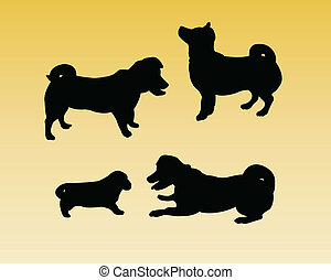 Dogs silhouettes- vector