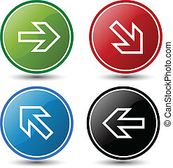 glossy colorful buttons with arrows